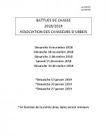 BATTUES DE CHASSE 2018-2019